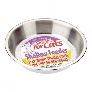 Classic Stainless Steel Shallow Cat Dish