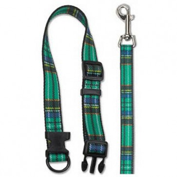 Ancol Green Tartan Dog Collar & Lead