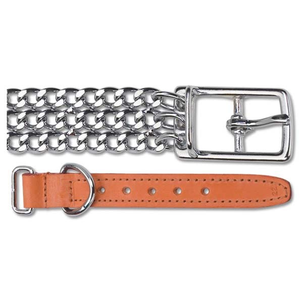 Leather & Chain Dog Collar - 3 Row