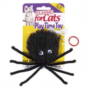 Classic Black Furry Spider For Cats