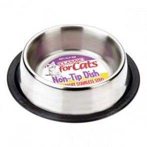 Classic Stainless Steel Non Tip Cat Dish