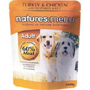 Natures Menu Adult Turkey & Chicken Dog Food 8 x 300g