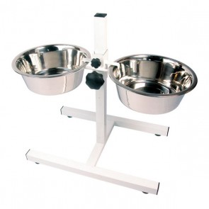 Rosewood Adjustable Double Diner - Stainless Steel Dog Bowls Included